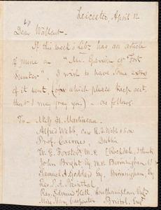 Letter from Samuel May, Jr., Leicester [Mass.], to Robert Folger Wallcut, April 12 [1865]