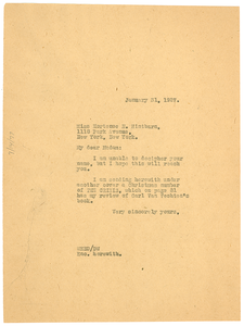Letter from W. E. B. Du Bois to Hortense N. Hintburn