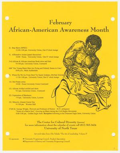 African-American Awareness Month flyer Box 1: Multicultural Center Scrapbooks : Center for Cultural Diversity Programs (1), 1995-1996