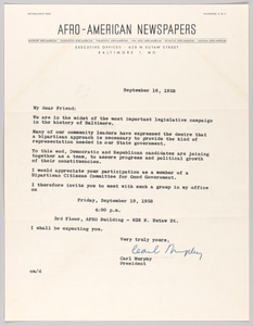 Letter from Carl Murphy and Afro-American Newspapers