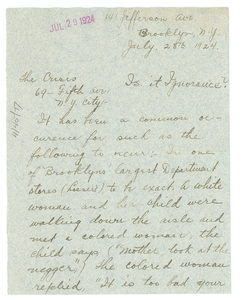 Letter from F. J. King to The Crisis