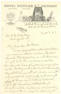 Letter from Bethel Evangelical Church to W. E. B. Du Bois