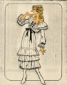 Costume design drawing, white dress with bows, Las Vegas, June 5, 1980