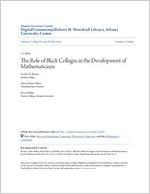 The Role of Black Colleges in the Development of Mathematicians