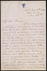 Letter from Martha Griffith Browne, 215 East 10th Street, New York, to Maria Weston Chapman, May 24th, [1865]