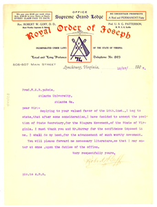 Letter from Robert W. Goff to W. E. B. Du Bois