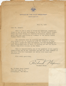 Letter to Richard Howard from Vice Pres. Richard Nixon, July 22, 1960