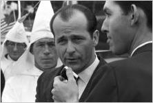 Alabama Grand Dragon James Spears at a Ku Klux Klan rally in Montgomery, Alabama, being interviewed.
