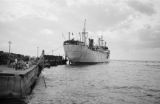 Philippines, ship Pleasantville docked at pier in Dumaguete
