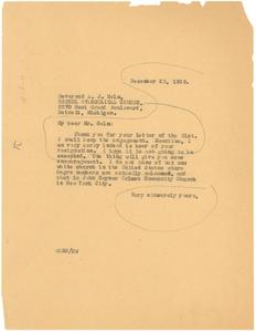 Letter from W. E. B. Du Bois to Bethel Evangelical Church