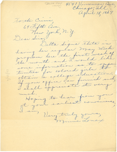 Letter from Minnie Lomax to Crisis
