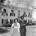William M. Branch, Greene County probate judge, standing with his wife, Alberta, in front of the courthouse in Eutaw, Alabama.