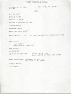 Agenda, Charleston Branch of the NAACP Branch Executive Board Meeting, April 26, 1990
