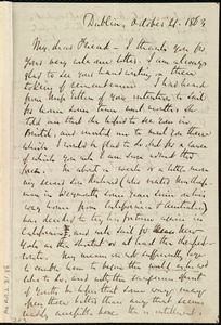 Letter from Richard Davis Webb, Dublin, [Ireland], to Caroline Weston, October 21, 1863