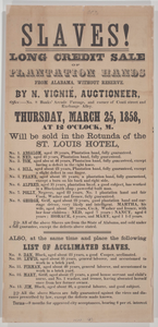 Broadside for a New Orleans auction of 18 enslaved persons from Alabama