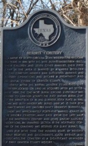 Texas Historical Commission Marker: Hendrix Cemetery