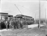Members of the Minneapolis Commercial Club and Soldiers From Fort Snelling Celebrate the Completion of the Trolley Line to the Fort.