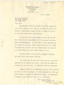 Letter from Egelloc Club to W. E. B. Du Bois