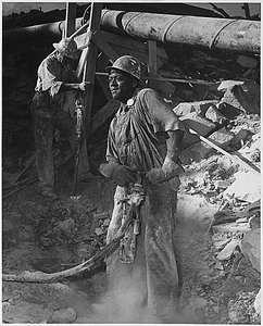 """""""Negro jackhammer operator at the Tennessee Valley Authority Douglas Dam on the French Broad River"""""""