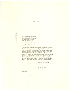 Letter from W. E. B. Du Bois to United Public Workers of America