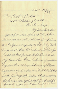 Letter from Peter W. Ray to Jacob Norton, 1884 November 11