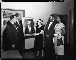 Presentation of Portrait of Mr. Plato H.U. [Howard University] E + A [Engineering and Architecture] School, May 1960 [cellulose acetate photonegative]