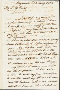W. E. Bailey, Waynesville, Ga., autograph letter signed to Ziba B. Oakes, 6 July 1853