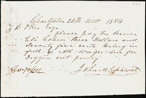 John M. Gilchrist, Charleston, S.C., autograph letter signed to Ziba B. Oakes, 20 November 1854