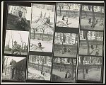 [Contact sheet with twelve 2 x 2 in. frames; nine frames show a woman possibly responding to a remark made by a child among a group of children in an unidentified park in New York City, remaining frames show Gordon Parks and Ralph Ellison]