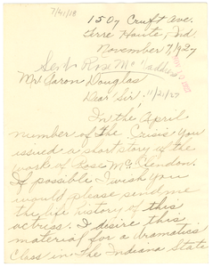 Letter from Clara M. Jackson to Crisis