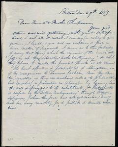 Rough draft of letter from Caroline Weston, Boston, Mass, to Henry Grafton Chapman and Robert R. Chapman, Dec. 27th, 1839