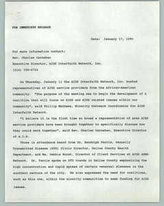 News Release: AIDS Interfaith Network AA Community AIDS Interfaith Network, 1990