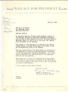 Letter from National Wallace for President Committee to W. E. B. Du Bois
