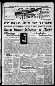 The Black Dispatch (Oklahoma City, Okla.), Vol. 7, No. 39, Ed. 1 Thursday, August 31, 1922