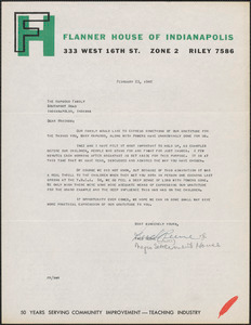 Fred Reeve (Flanner House of Indianapolis, Ind.) typed letter signed to the Hapgood Family, [Indianapolis, Ind.], February 23, 1949