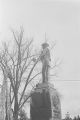 Defaced Confederate monument in downtown Tuskegee, Alabama, after a nighttime student demonstration protesting the acquittal of Marvin Segrest for the murder of Samuel L. Younge.