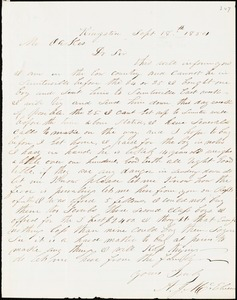 A. J. McElveen, Kingstree, S.C., autograph letter signed to Ziba B. Oakes, 18 September 1854