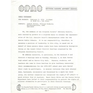 Citywide Parents' Advisory Council press release, February 9, 1976.