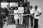 Baskin Robbins grand opening guests posing with Mayor Bradley, Los Angeles, 1987