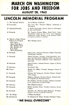 March on Washington for Jobs and Freedom August 28, 1963 Lincoln Memorial Program