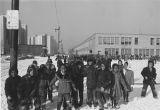 Children Outside Crispus Attucks School in winter, 3813 S. Dearborn