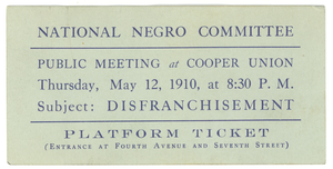 Ticket to the National Negro Conference