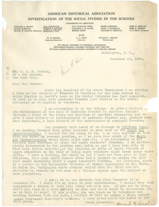 Letter from Howard K. Beale to W. E. B. Du Bois