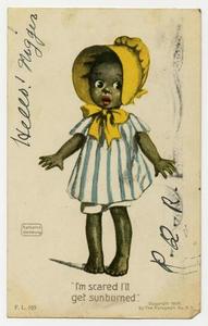 Postcard of Young Girl Wearing Yellow Bonnet