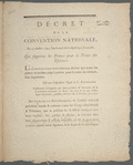 Décret de la Convention nationale, du 27 juillet 1793: l'an second de la République Françoise, qui supprime les primes pour la traite des esclaves