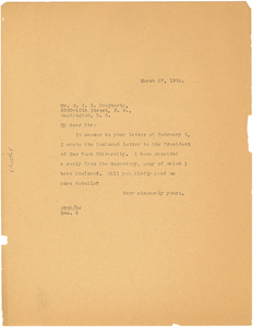Letter from W. E. B. Du Bois to W. S. H. Dougherty