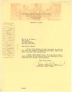 Letter from Associated Negro Press to W. E. B. Du Bois