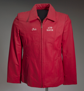 Red leather Delta Sigma Theta jacket owned by Tobi Douglas A. Pulley