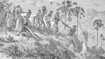 Slave traders marching their captives to the coast, butchering disabled ones along the way