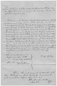Affidavit of William L. Willis in the Matter of Fred Fowler, Fugitive Slave
